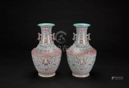 19th Century-A Pair of Green Ground Famille-Glazed Double Ha