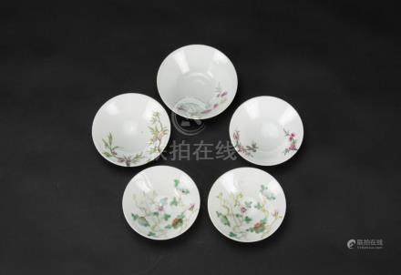 Qing-A Famille-Glazed 'Flowers' Dishes