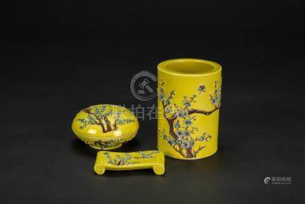 Late Qing/Republic - A Group Of Three Yellow Ground Glazed P