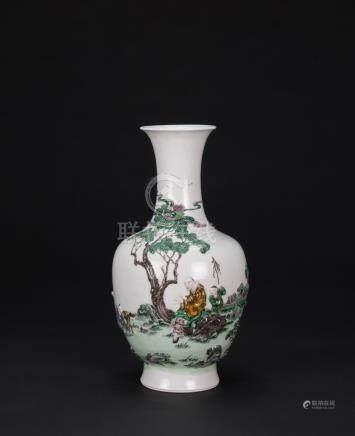 Qing-A Famille Glazed Porcelain Carved 'Luohan' Vase