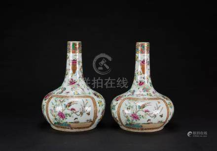 Late Qing- A Pair Of Famille-Galzed Vase