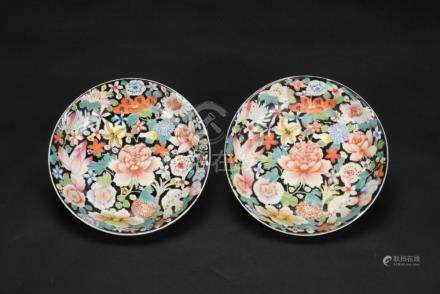 Republic- A Pair Of Famille-Glazed 'Flowers' Plate