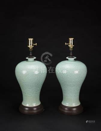 Republic-A Pair Of Celadon Glazed Vases Lamp