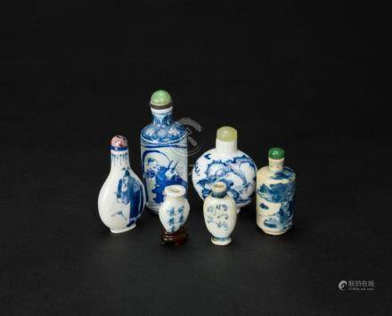Qing/Republic-A Group Of Six Blue And White Snuff Bottle