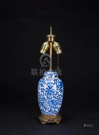 19thCentury-A Blue And White Vase Lamp