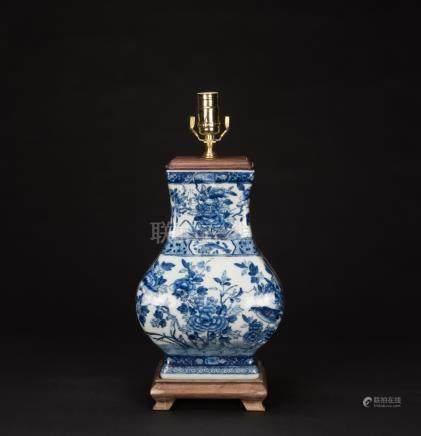 Qing-A Blue And White Vase Lamp