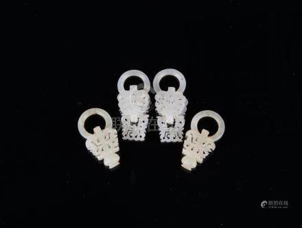 Qing-A Two Pair Of White Jade Carved 'Shuo' Earring
