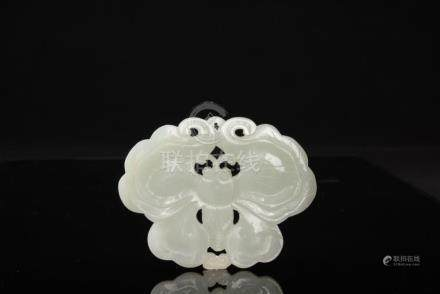 Qing-A White Jade Carved Butterfly Pendant