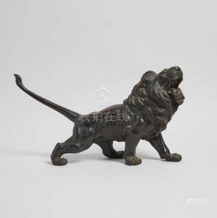 日本 銅獅像 A Japanese Bronze Figure of Lion