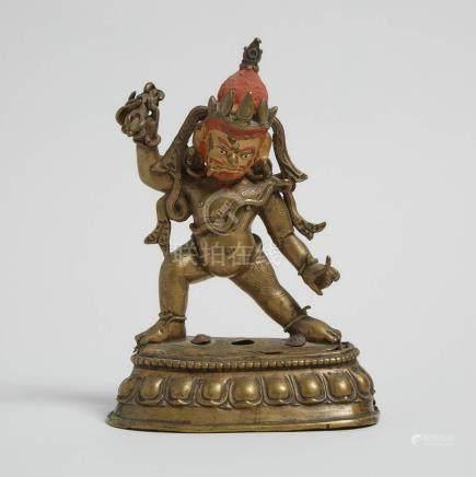 尼泊爾 鎏金銅彩繪金剛手菩薩立像 A Gilt Bronze Figure of Vajrapani, Nepal