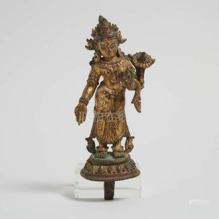 尼泊爾 鎏金銅蓮花手觀音立像 A Gilt Bronze Standing Figure of Padmapani, Nepal