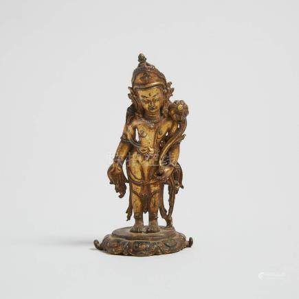 尼泊爾 小鎏金銅蓮花手觀音立像 A Small Gilt Bronze Figure of Padmapani, Nepal