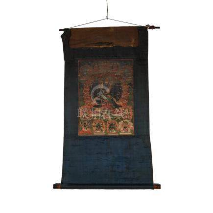 清 黑度母唐卡 A Black Ground Thangka of Tara, Qing Dynasty