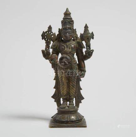 印度 銅毗濕奴立像 A Bronze Standing Figure of Vishnu, India