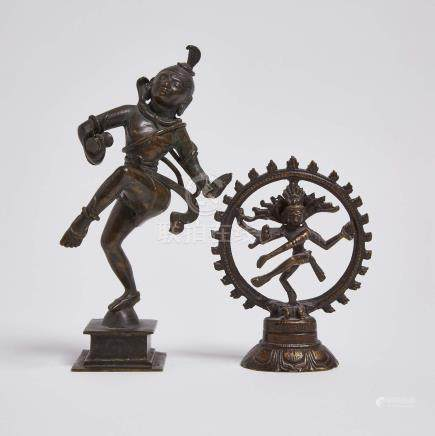 印度 銅舞濕婆像一組兩件 Two Bronze Figures of Shiva Nataraja, India