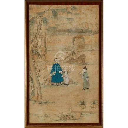 十九世紀 祖孫行樂圖一組兩件 設色紙本 鏡框 A Pair of Ancestor Landscape Portraits, 19th Century