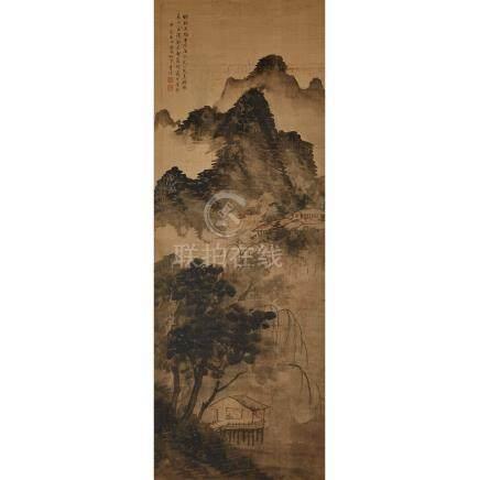 李詁 (清) 修翁山居圖 設色絹本 鏡片 Li Gu (Qing Dynasty) A Framed Chinese Landscape Painting