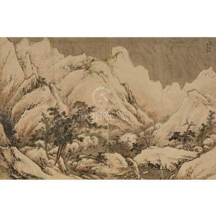 愛新覺羅·溥佺 (1913-1991) 山水 設色绢布本 畫框 Pu Quan (1913-1991), Landscape
