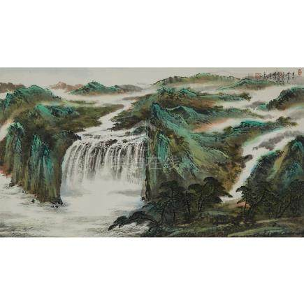 愛新覺羅·毓嵉 (1958- ) 山水 設色紙本 鏡框 Yu Ting (1958-), Landscape