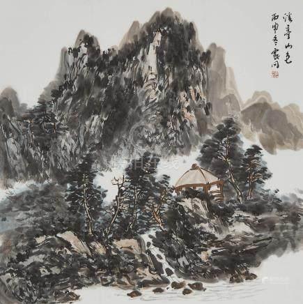 諸震岡 (1950- ) 溪亭山色 設色紙本 鏡框 Chu Zhengang (1950- ), Landscape