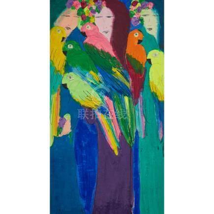 丁雄泉(1929-2010) 三美圖 壓克力彩 宣紙 裱於畫布 Walasse Ting (1929-2010), Three Women with Parrots
