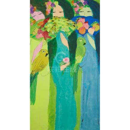 丁雄泉(1929-2010) 三美圖 壓克力彩 宣紙 裱於畫布 Walasse Ting (1929-2010), Three Women
