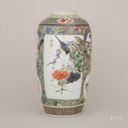 康熙 五彩開光花鳥瑞獸紋大罐 雙圈底款 A Famille Verte Porcelain Jar, Kangxi Period (1662-1722)