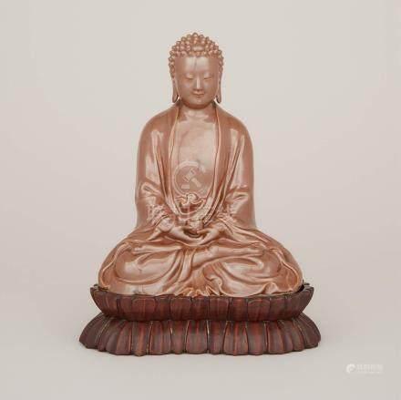 民國時期 醬釉佛坐像 曾龍昇款 A Cafe-au-Lait Glazed Porcelain Buddha, Mark of Zeng Longsheng (1901-1964), Republic Period