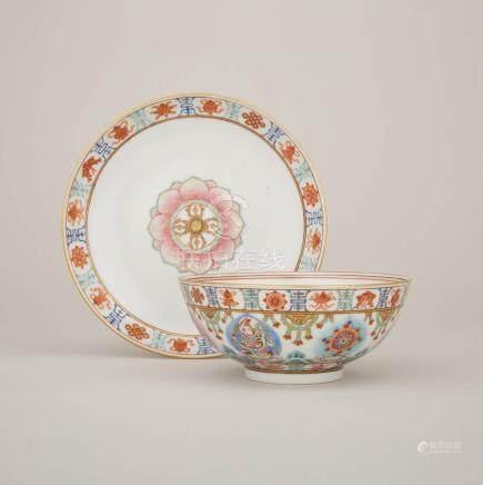 道光 粉彩七政寶紋盤碗一組兩件 礬紅蒙文款 A Set of Famille Rose 'Baragon Tumed' Bowl and Dish, Daoguang Period