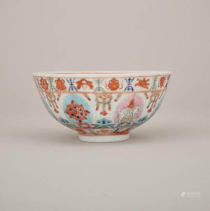 民國時期 七政寶紋碗 礬紅蒙文款 A Famille Rose 'Baragon Tumed' Bowl, Republic Period