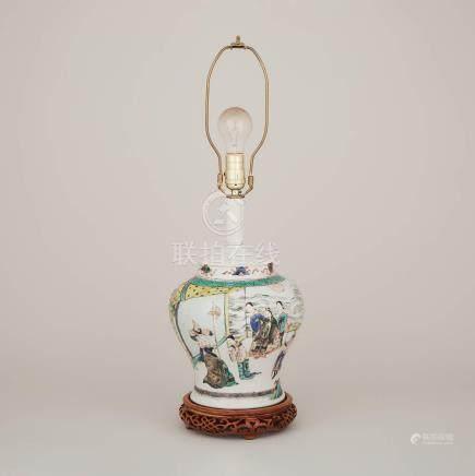 十九世紀 五彩人物故事紋罐燈 A Wucai Porcelain Vase Lamp, 19th Century