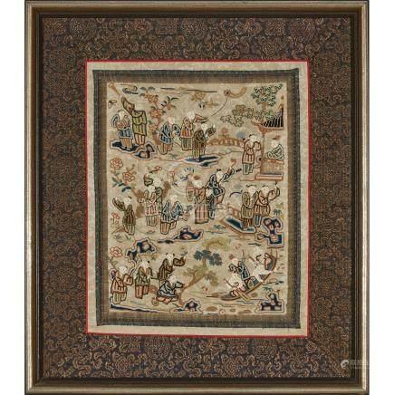 十九世紀 百子圖繡片 A Silk Chain-Stitch Embroidery of Children, 19th Century