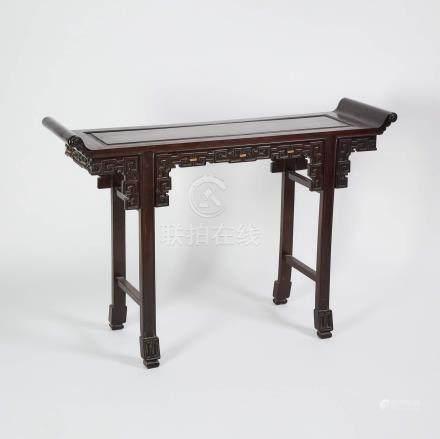 硬木雕拐子紋翹頭案 A Chinese Hardwood Altar Table
