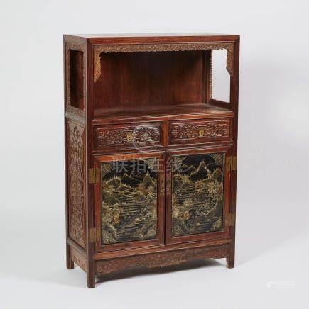 酸枝木漆金山水庭園紋多寶格櫃 A Small Suanzhi Carved Display Cabinet