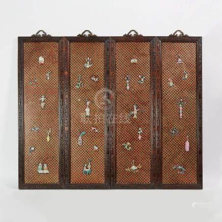 十九世紀 酸枝鑲嵌瓷博古圖四扇掛屏 A Set of Four Porcelain Inlaid Panels, 19th Century