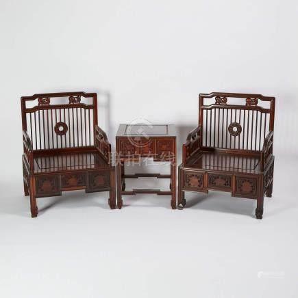 花梨梳背椅矮方桌一套三件 A Set of Two Huali Low Spindle-Back Armchairs and Low Table