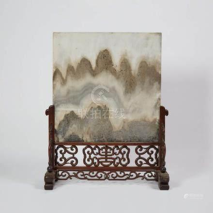 十九世紀 硬木嵌理石大座屏 A Large Marble 'Landscape' Table Screen, 19th Century