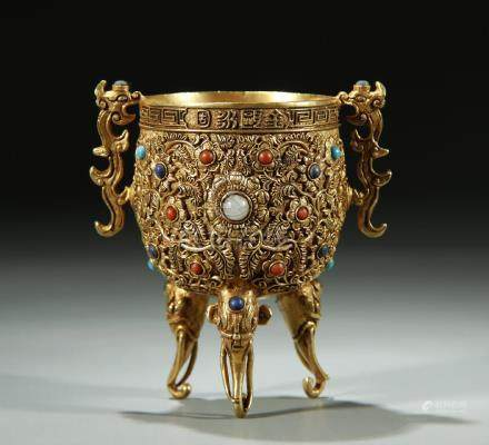 Superb detail carved/gemstones inlaid tripod cup