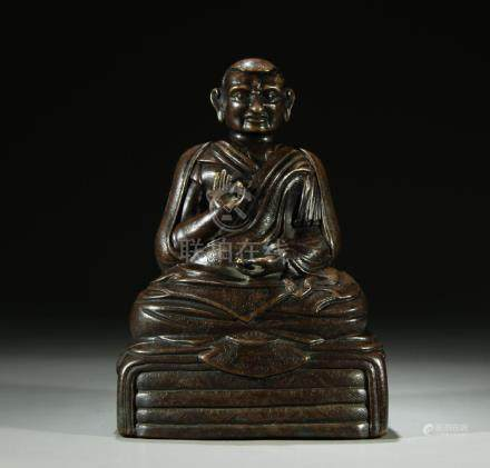 Superb old bronze figure of a Guru