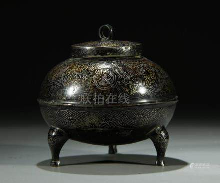 Superb gold/silver inlaid bronze tripod censer