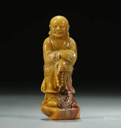 Superb carved shoushan stone Lohan figure