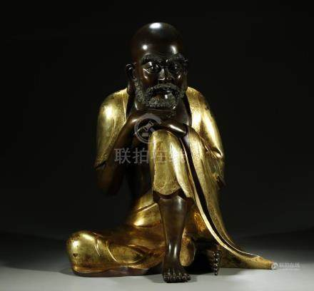 Superb gilt bronze seated Lohan figure