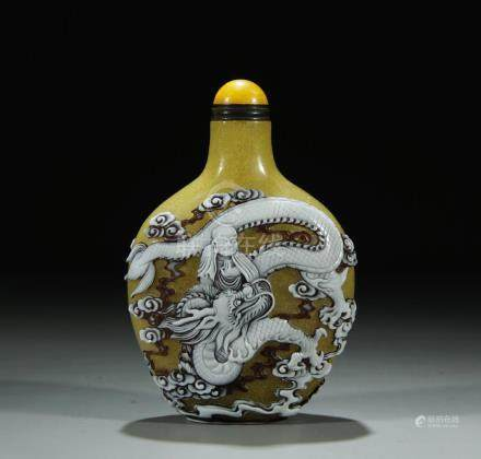 Antique yellow peking glass snuff bottle