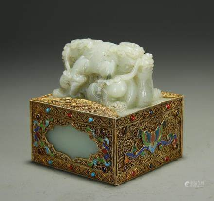 Antique vermeil/enamel overlay white jade seal