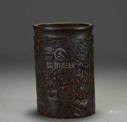 Late 19/20th C. bamboo carved brush pot