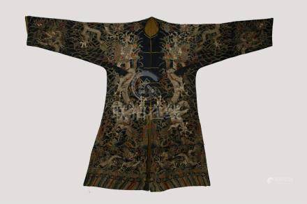 18/19th C. silk embroidered dragon robe