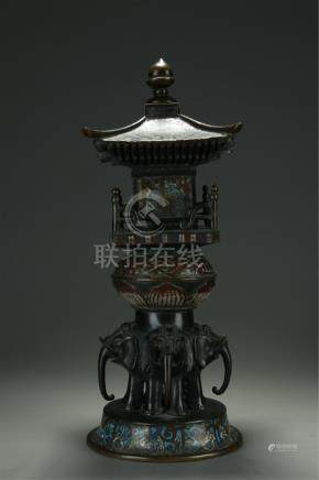 19th C. bronze/cloisonne Chinese temple shrine