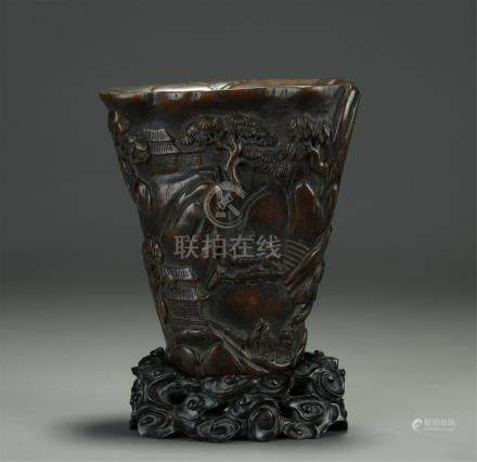 19/20th C. agarwood carved cup