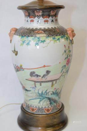 19-20th C. Chinese Famille Rose Lion Ears Vase Lamp