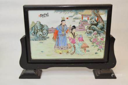 "20th C. Chinese Famille Rose ""HongLouMeng"" Screen"